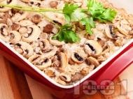 Запечен ориз с гъби печурки и лук в тава на фурна